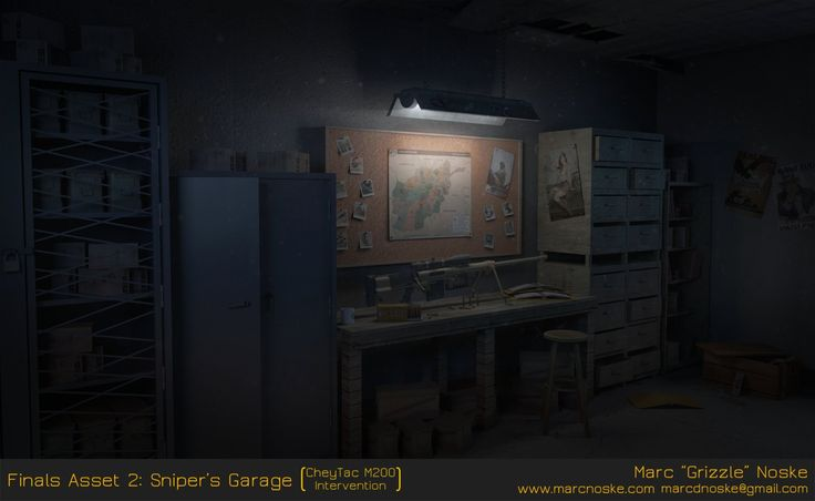 Finals Asset 2: Sniper's Garage & CheyTac M200 Intervention, Marc Noske on ArtStation at https://www.artstation.com/artwork/vJ9aE