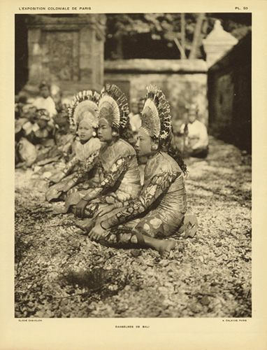 "Portfolio plate 50, ""Danseuses de Bali"" from L'Exposition coloniale de Paris, [""Dancers from Bali"" from The Colonial Exhibition of Paris], [1932]   Introduction by Joseph Trillat (Nationality and dates unknown)   Published by Librairie des Arts Décoratifs, Paris for the Exposition coloniale internationale de Paris (1931)   Photography by A. Calavas (Nationality and dates unknown)   XC1992.94"