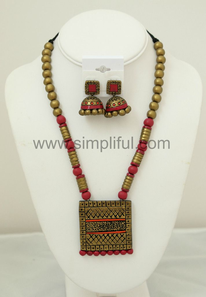 Terracotta Square Necklace and Earring Set