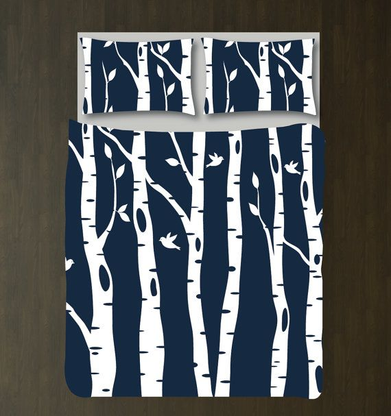 Custom Birch Tree Duvet Cover and Shams Bedding Set-Navy Blue-White-CUSTOMIZE COLORS-Twin XL/Full/Queen/King-Room-Home Decor-Outdoors-Size
