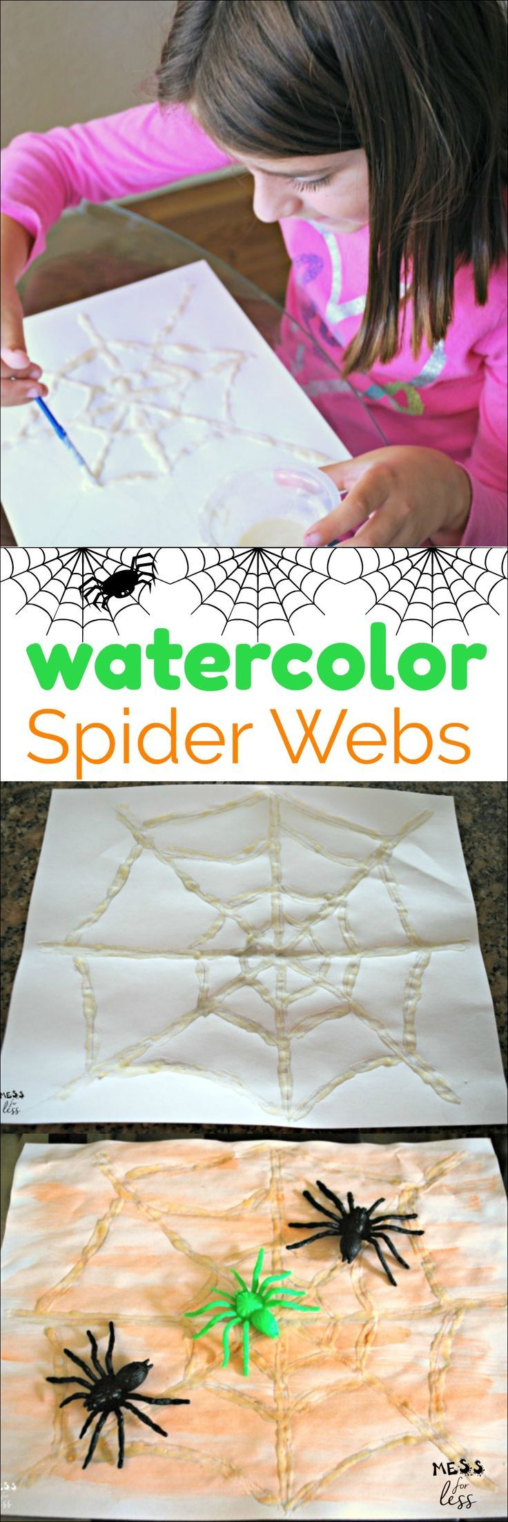 These watercolor spider webs are easy to