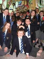 Class 5X at Lyndhurst School, in the Rainforest Corridor they created in the school corridor