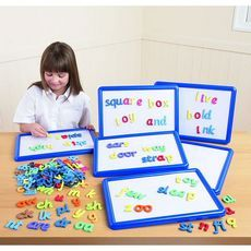Encourage children to use synthetic phonics and improve word building skills using this value pack of products. The pack consists of six dry-wipe magnetic boards and Phonics Letters Sets 1, 2 and 3.Magnetic BoardsDry-wipe magnetic boards with plastic borders, perfect for use with magnetic letters. Size of boards: 350 x 250mm. Colour Coded Magnetic Letters
