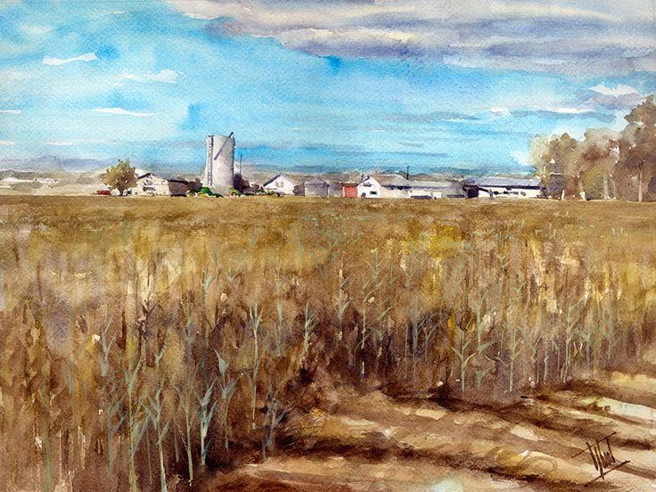 "ARTENDE Contemporary Art Gallery http://www.artende.pl   Jaroslaw Glod - Watercolor - ""Countryside"" 30cm x 40cm"
