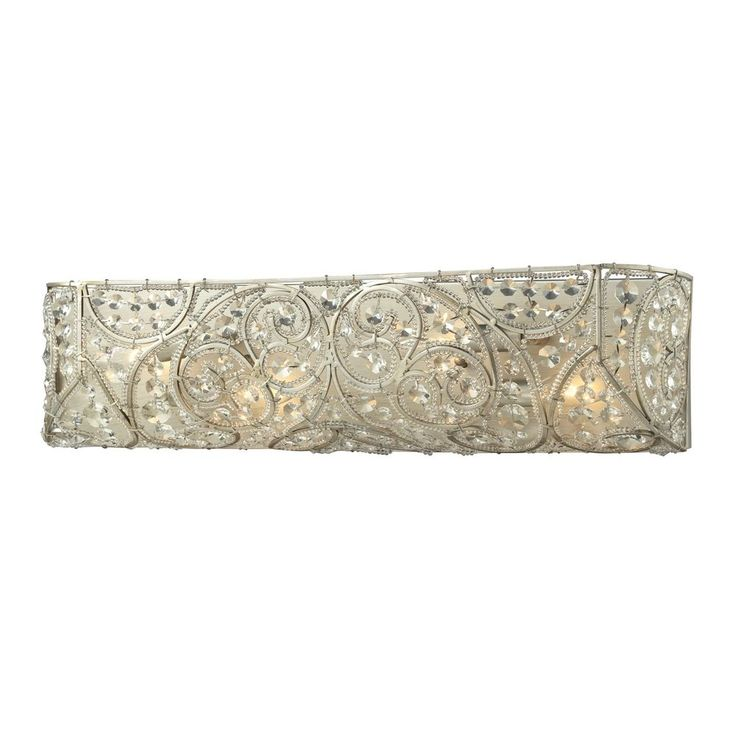 Crystal Bathroom Light In Aged Silver Finish Awesome Design
