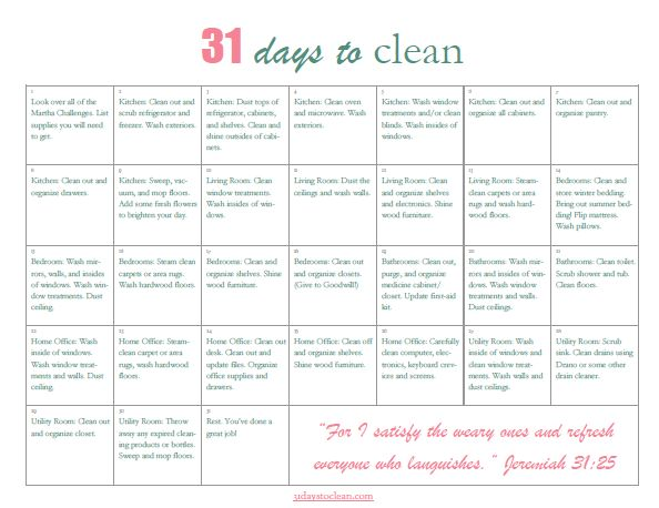 From 31 days to clean:  Having a Martha House the Mary WayCleaning Calendar, Calendar Yeow, Organize Cleaning, Cleaning Printables, Cleaning House, Cleaning Charts, Printables Calendar, Spring Cleaning, Printable Calendars
