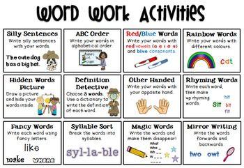 Word-Work-Activities-FREEBIE-1181883 Teaching Resources - TeachersPayTeachers.com