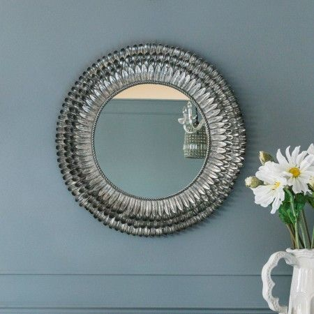 Silver Feather Mirror - Small - Round & Oval Mirrors - Mirrors - Lighting & Mirrors