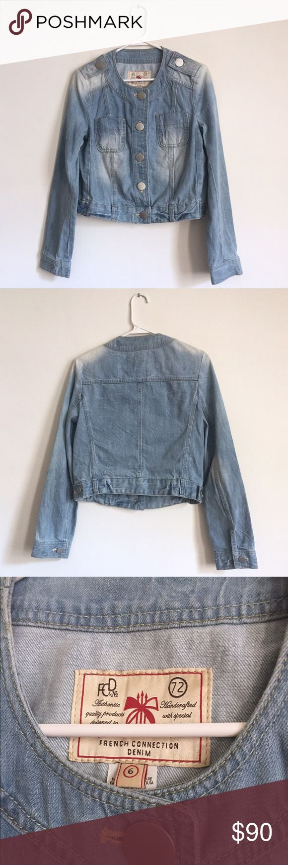 "French Connection Cropped Collarless Denim Jacket A denim jacket is always the perfect addition to any outfit! It never goes out of style- and especially with the resurgence of 90's fashion, this one is perfect. No foldable collar. Light denim with some distressing by design and fading, also by design. Large flat silver buttons down the front on shoulders and on sleeves. Great condition. 18.5"" long. Sleeves: 23.5"" long. French Connection Jackets & Coats"