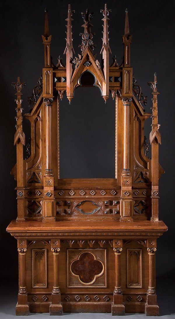 "19th C Medieval Revival: Religious furniture, altar w/ familiar Gothic ""spires"" + quatre-foiles + machine-sawn,hand-finished tracery-etc"