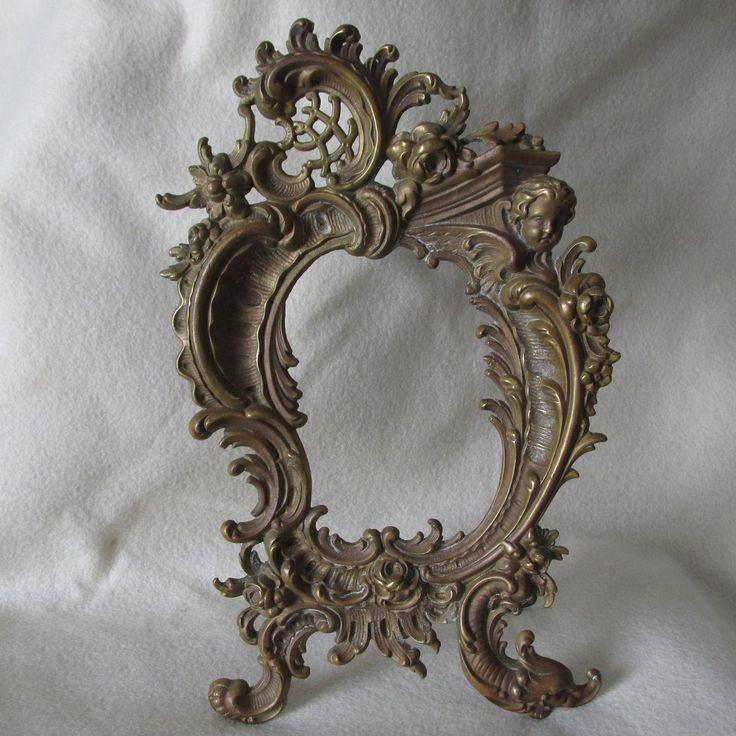 SOLD.....Antique 19thC French Rococo Bronze Mirror, Picture Frame, Cherub Angel & Dolphin