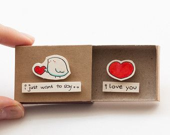 Cute Anniversary Card/ Love Card I love you Matchbox / por shop3xu