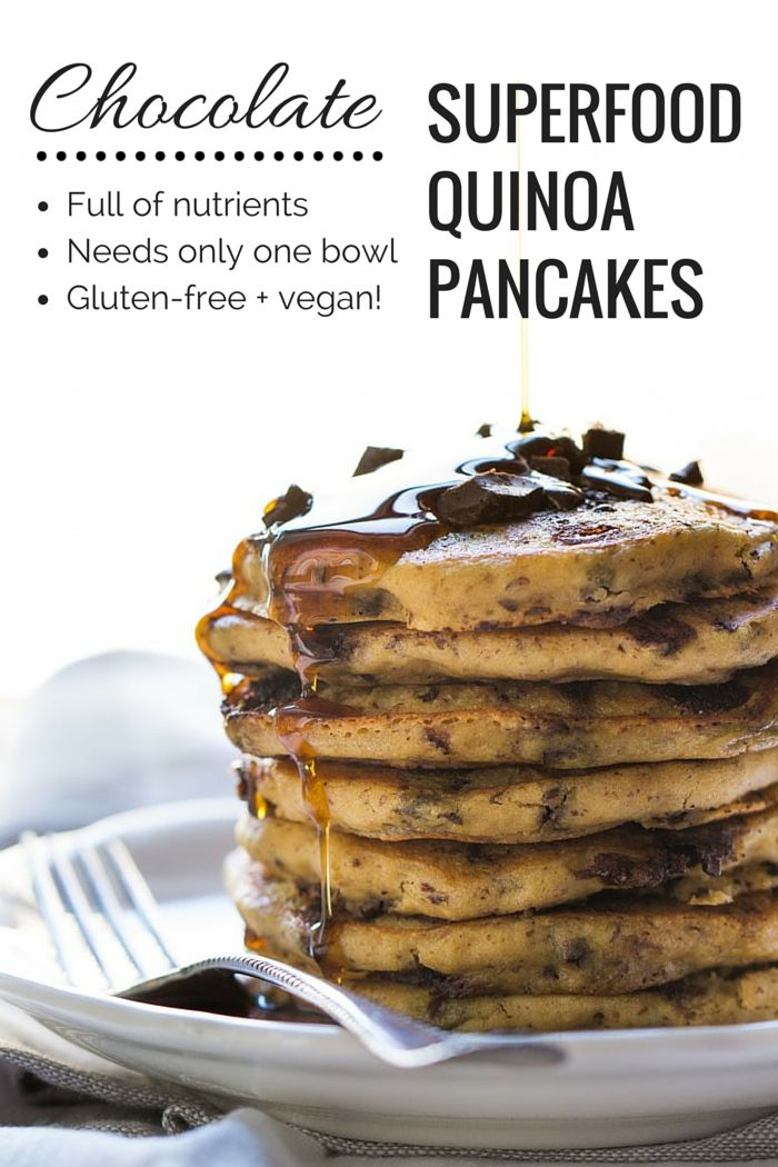 These pancakes are AMAZING! They're loaded with superfoods, take only one bowl and they're VEGAN + GLUTEN-FREE!