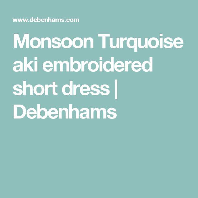 Monsoon Turquoise aki embroidered short dress | Debenhams