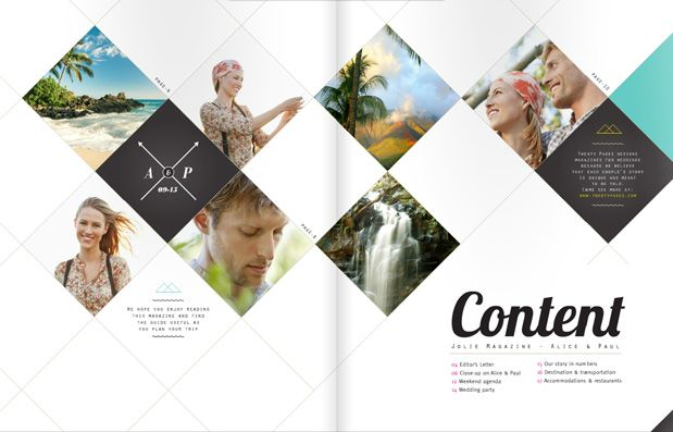 #TwentyPages wedding magazine company. I really like this table of conents spread. #layout #graphicdesign