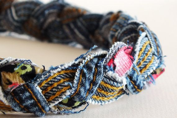 braided denim headband would be easy to do with oldpair of jeans