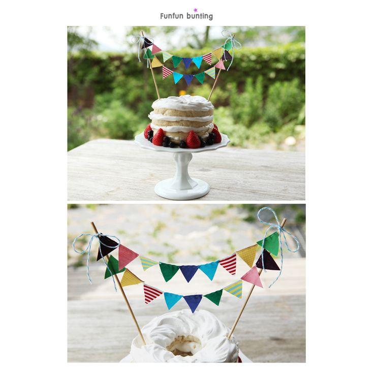 funfunフラッグケーキバンティング可愛いケーキデコレーションウェディングハンドメイドガーランドデコレーションバースデー結婚誕生日旗パーティーグッズ雑貨バンティングウェディングケーキ