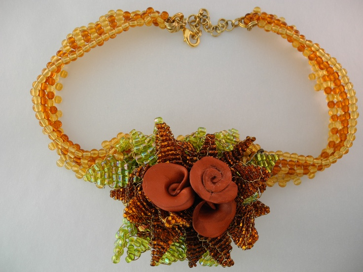 Copper Clay and Seed Bead Rosette Necklace