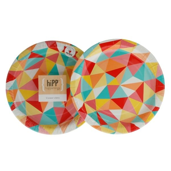 Hipp Multicoloured Mosiac Sprinkles Paper Party Dinner Plates - 12 Pack