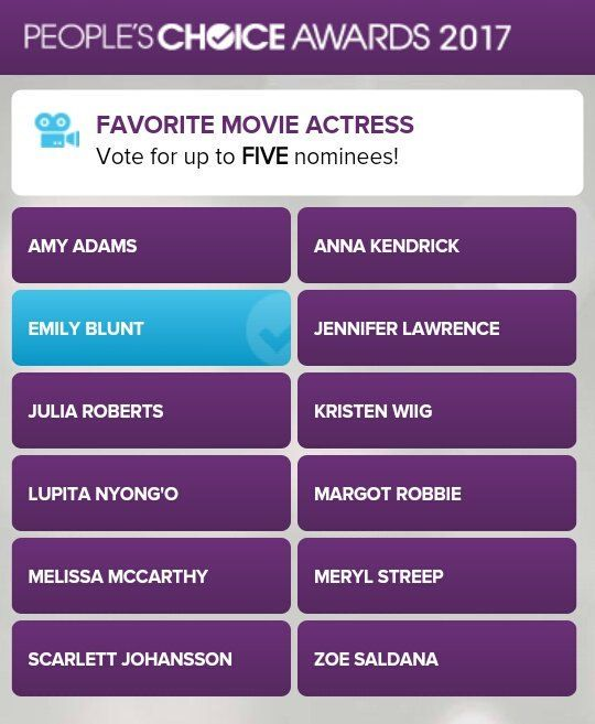 I voted for Emily Bunt for Favorite Movie Actress for the People's Choice  Awards