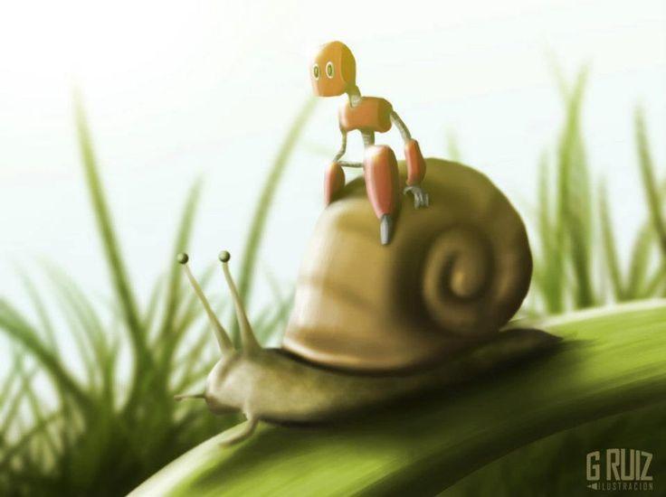 Y el pequeño robot partio en su aventura montado en el caracol...