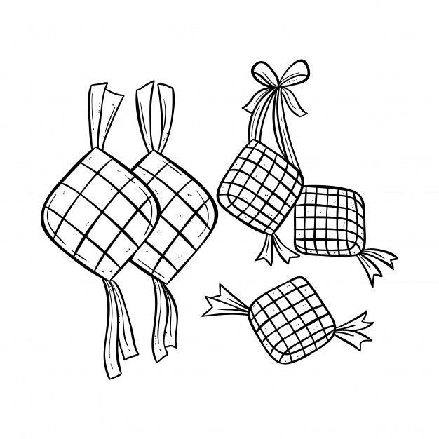 Ketupat Illustration For Eid Mubarak With Doodle Style Eid Mubarak Doodles Eid