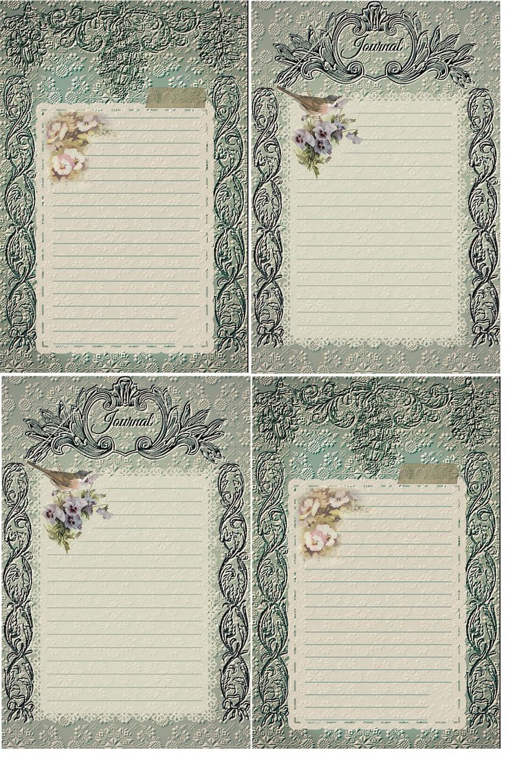 Vintage in teal Journal Cards Free-download