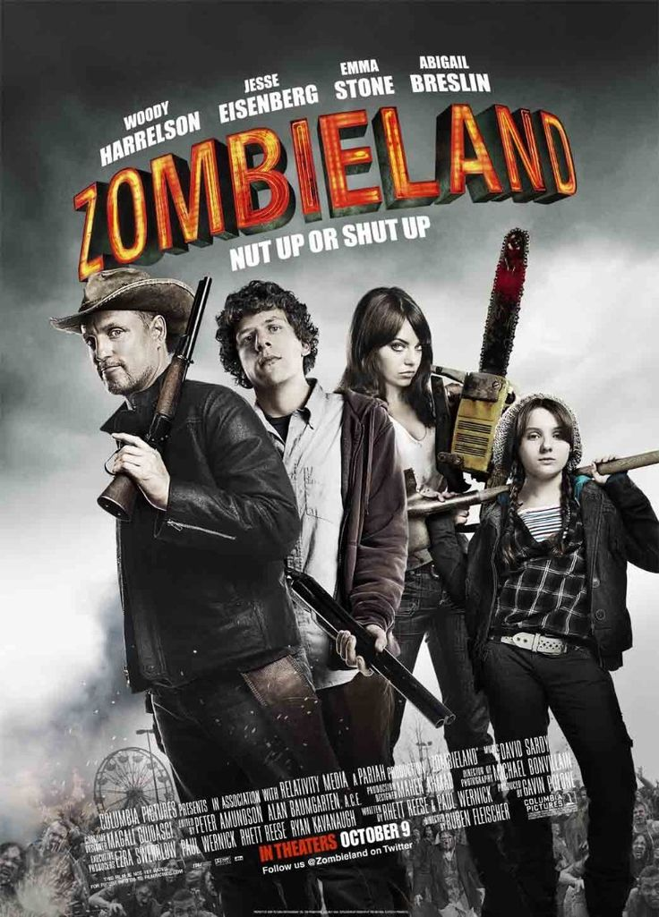 """""""Zombieland"""" - A shy student trying to reach his family in Ohio, and a gun-toting tough guy trying to find the Last Twinkie and a pair of sisters trying to get to an amusement park join forces to travel across a zombie-filled America. (2009)"""