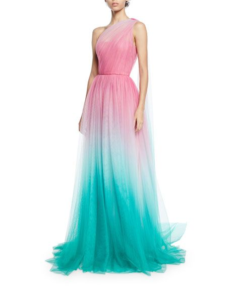 15f0ecb64355 One-Shoulder Two-Tone Ombre Tulle Gown by Monique Lhuillier at Neiman Marcus