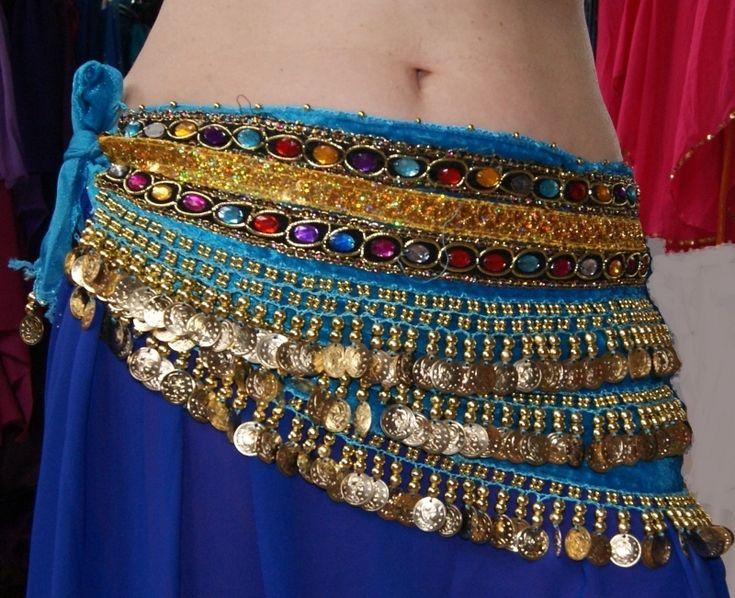 TURQUOISE Fluwelen buikdansgordel met 2 rijen gekleurde steentjes en GOUDEN munten - GS5g - TURQUOISE BLUE Velvet, GOLDEN coins hipbelt with multicolored stones