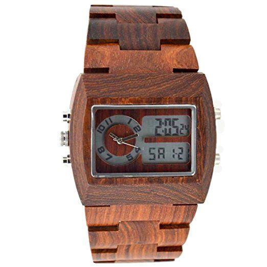 Bewell Hombres Relojes de madera reloj LED de Pantalla Watches doble zona horaria Reloj de madera de sándalo para hombre, color rojo