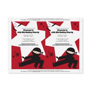 40th Birthday Ideas: Ninja Birthday Invitation Templates