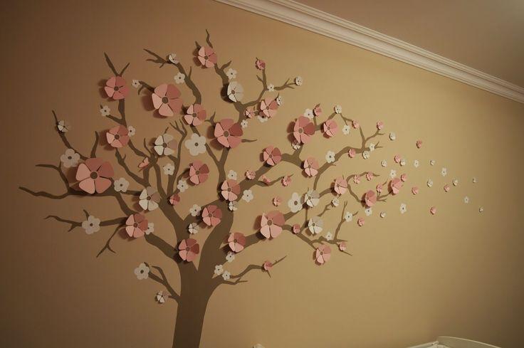 Painted tree decor with paper flowers / Festett fa dekoráció papír virágokkal