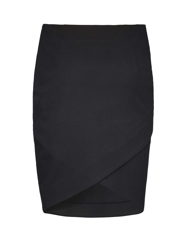 Tiger of Sweden: Leoda skirt - Women's black pencil skirt in cotton-stretch. Features concealed side zip closure with hook and bar. Crossover detail at front and darts at waist.Regular waist. Knee-length.