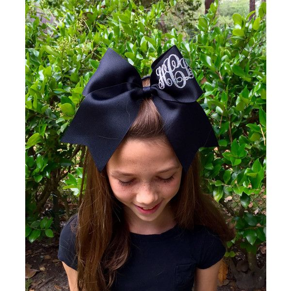 Monogram Cheer Bows Hair Bows Monogrammed Gifts Cheerleader Hair Bows... (98 SEK) ❤ liked on Polyvore featuring accessories, hair accessories, barrettes & clips, black, bow hair clips, flat hair clips, hair clip accessories, barrette hair clip and glitter hair bows