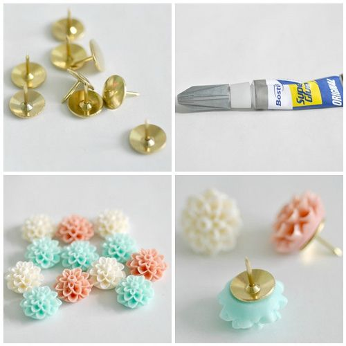 I was looking around for some pretty thumbtacks for my new pin board that I am in the process of designing but couldn't find anything that fitted the bill. In the end I decided to make my own using some pretty cabochons, from Etsy seller Baubles of Fun, in colours to match my craft room. So quick and easy!    Pretty thumbtacks    Tools and material