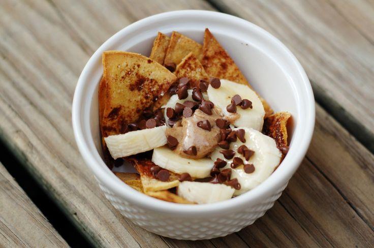 Sweet Slender Nachos:  Calories: 157, corn tortilla,  cinnamon, small banana, nut butter, mini chocolate chips, PAM