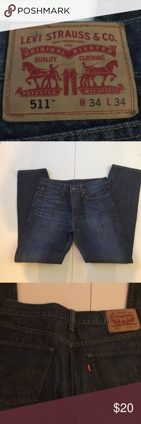"Levi 511 jeans size 34 x 34"" This is a pair of barely worn Levi 511 jeans size 34 x 34"" there are no stains, rips, wear or broken zipper. Great condition. Levi 511 Pants"