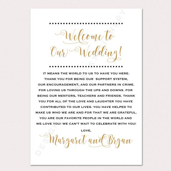 Best  Wedding Welcome Letters Ideas On   Welcome