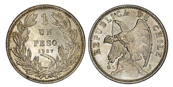 https://flic.kr/p/R9K7Zi   Un Peso 1927 So Chile (thin)   0.5 Silver Mintage: 3.890.000 Designer: Oscar Roty (FR)