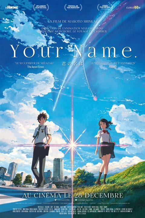 Your Name - Kimi no na wa - de Makoto Shinkai 2016. Très bel animé japonais.