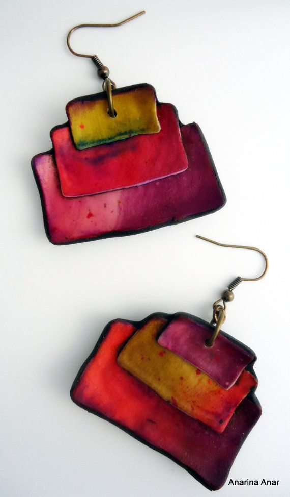 Polymer clay earrings by AnarinaAnar on . Try design in felt, maybe with some seed bead embellishment and metal thread embroidery.