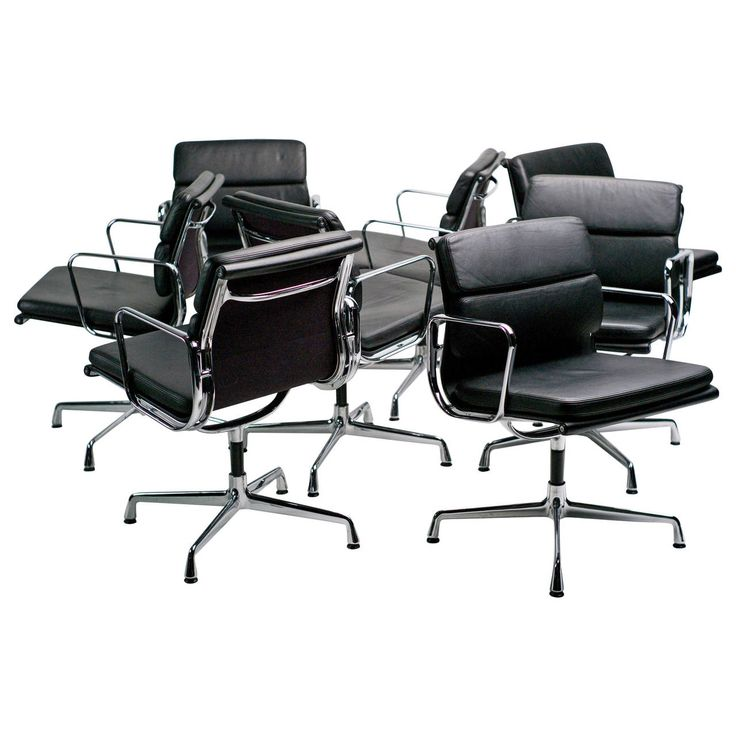 Charles and Ray Eames Soft Pad Boardroom Chairs by Vitra | From a unique collection of antique and modern office chairs and desk chairs at https://www.1stdibs.com/furniture/seating/office-chairs-desk-chairs/