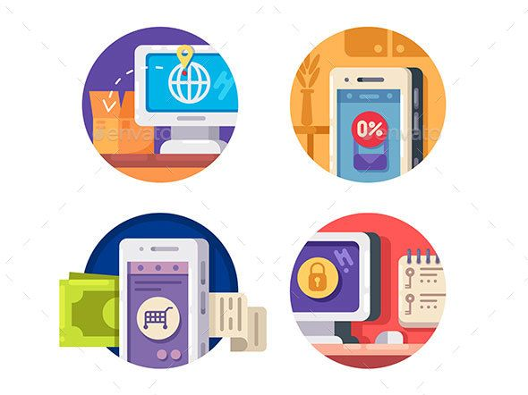 Internet technology icons. Tracking and payment from smartphone. Vector illustration. Vector files, fully editable. Includes AI CS