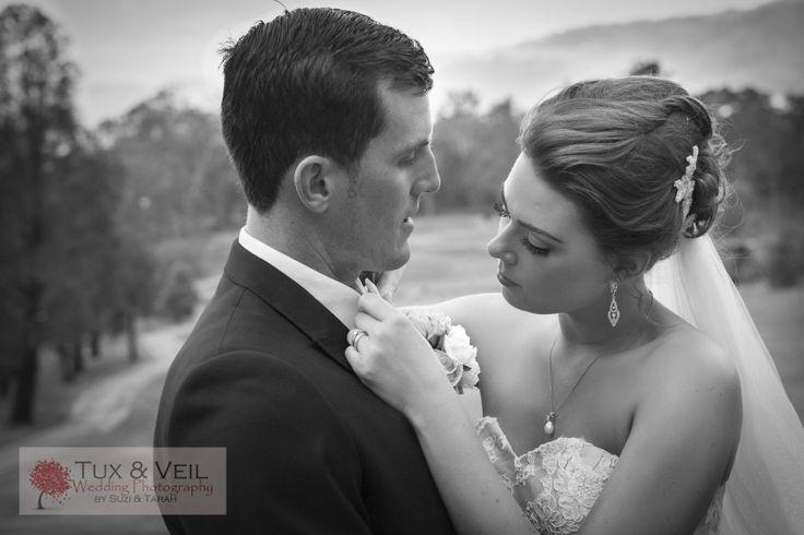 Bride and Groom Candid photo. Gorgeous black and white photo. St Lucia Golf Links Brisbane Australia Tux & Veil Wedding Photography B&W Bride & Groom www.tuxandveil.com