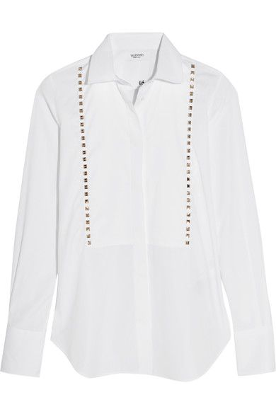 Valentino - Studded Cotton-poplin Shirt - SALE20 at Checkout for an extra 20% off