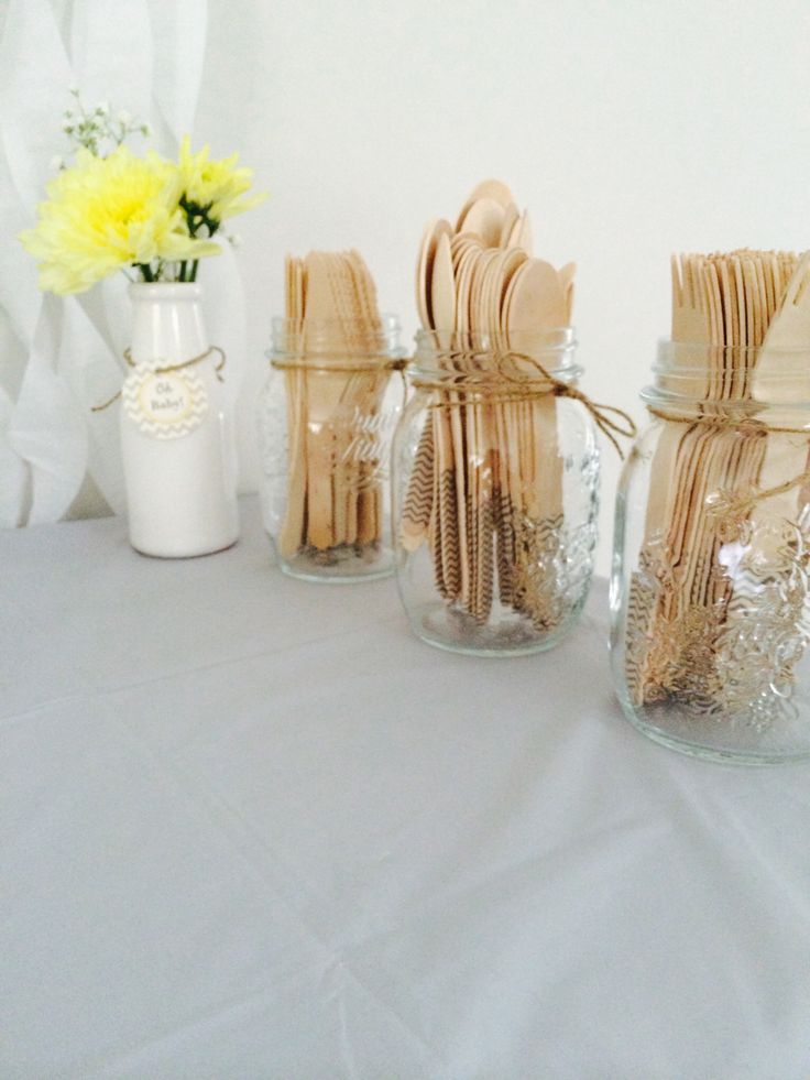 Wooden cutlery with grey chevron washi tape