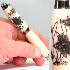 Goldfish Engraved Hand Turned Pen by Michael Doyle