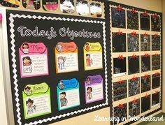 This bulletin board really catches the eye.  Great way to display your daily objectives or standards.  The objective posters are from Crockett's Classroom on TPT, the stunning display is from Learning in Wonderland.