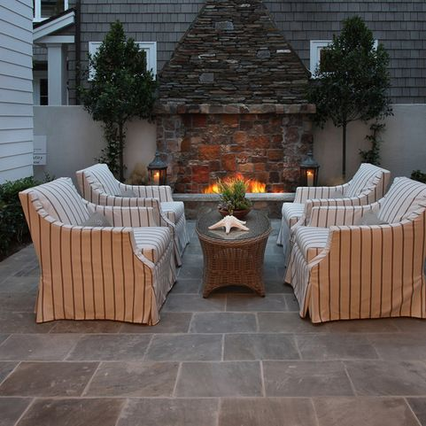 Ashlar Slate Stamped Concrete, Walnut And Gray Design Ideas, Pictures, Remodel and Decor